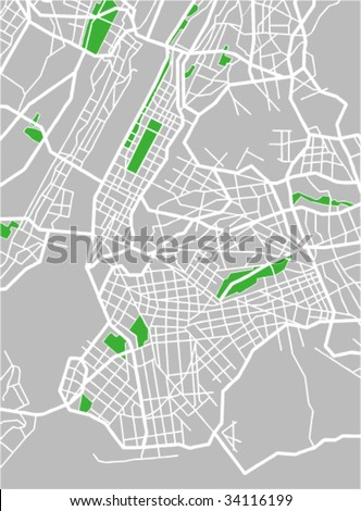 vector map of New York. - stock vector