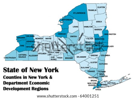 vector map of New York state with all counties