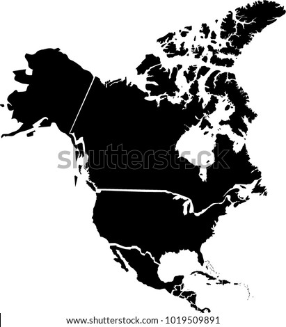 Vector map of North America. Black mask. Isolated, white background.
