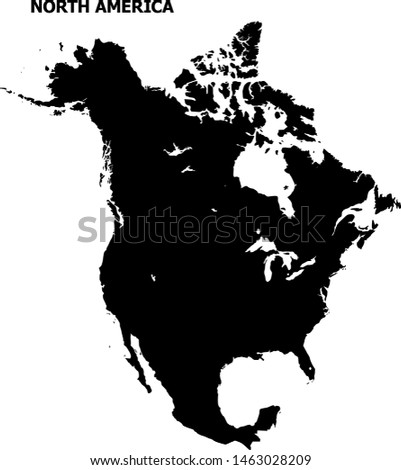 Vector Map of North America with title. Map of North America is isolated on a white background. Simple flat geographic map.