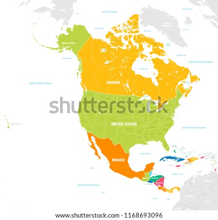 Vector map of North and Central America Continent with Countries, Capitals, Main Cities and Seas and islands names in strong brilliant colors.