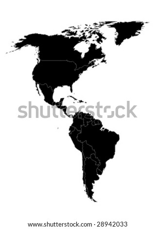 vector map of north and south america