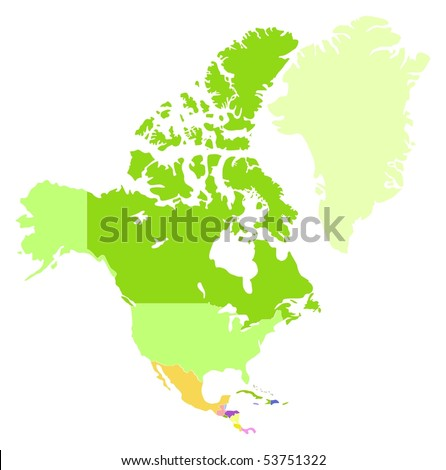 Vector map of Northern America, each country is the individual isolated object.