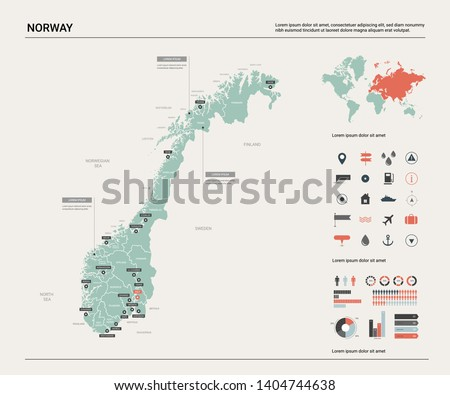 vector map of norway country