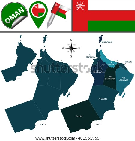Vector map of Oman with named governorates and travel icons
