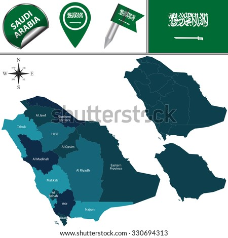 Vector map of Saudi Arabia with named divisions and travel icons