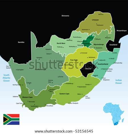 vector map of south africa