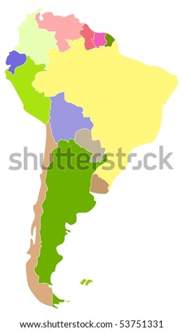 Vector map of South America, each country is the individual isolated object.