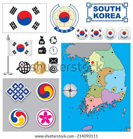 vector map of south korea  with