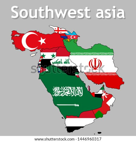 Vector map of Southwest asia, separate layers and names clearly, easy to use, illustration.