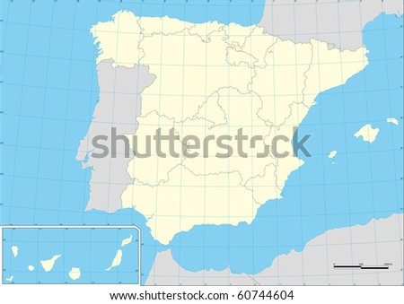 maps of spain black and white. stock vector : Vector map of