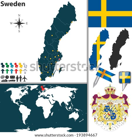vector map of sweden with