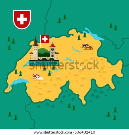 Vector map of Switzerland.
