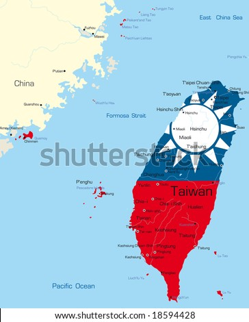 Vector map of Taiwan country colored by national flag