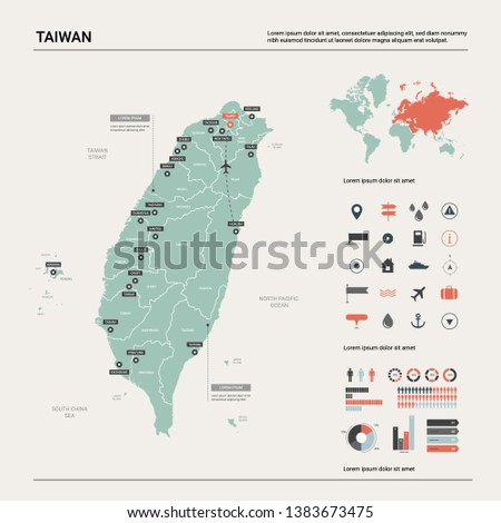 Vector map of Taiwan. High detailed country map with division, cities and capital Taipei. Political map,  world map, infographic elements.