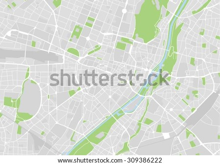 vector map of the city center of Munich, Germany