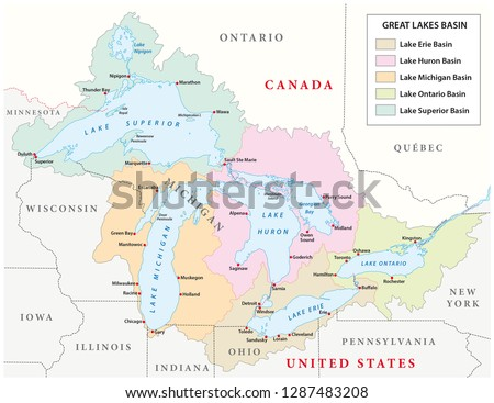 vector map of the great lakes