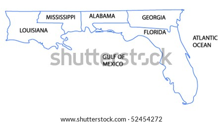 vector map of the Gulf Coast States of the Untied States