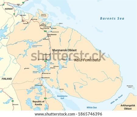 vector map of the Kola Peninsula in northwest Russia Zdjęcia stock ©