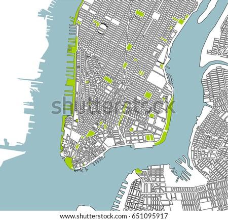 Free Manhattan New York USA Vector Map Download Free Vector - Manhattan us map
