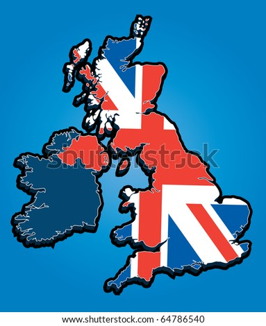 Vector Map of the United Kingdom with Union Jack National Flag