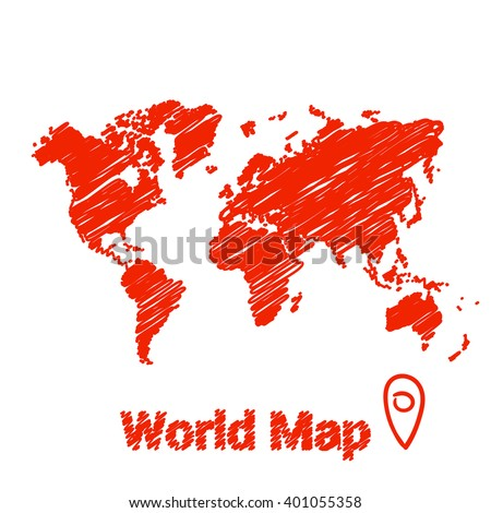 vector map of the world drawing