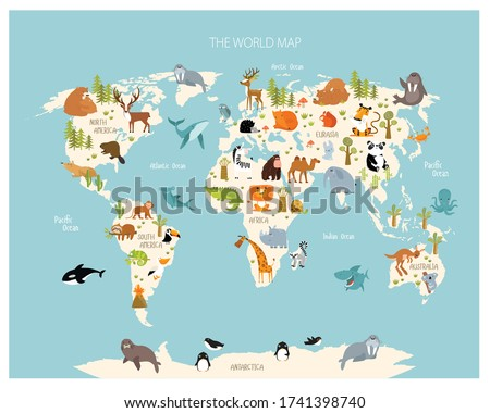 Vector map of the world with cartoon animals for kids. Eurasia, South America, North America, Australia and Africa.