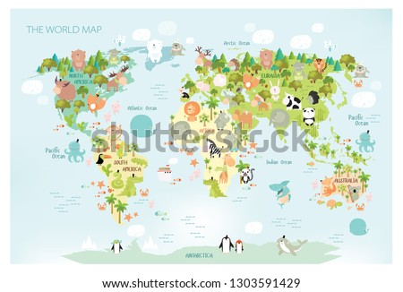 Vector map of the world with cartoon animals for kids. Europe, Asia, South America, North America, Australia and Africa.