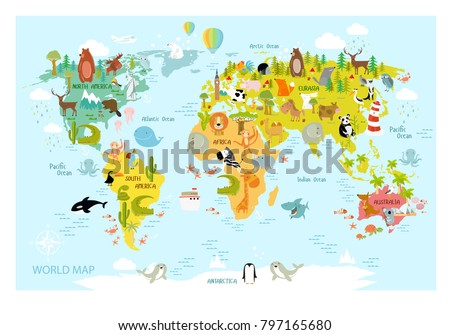 Vector map of the world with cartoon animals for kids. Europe, Asia, South America, North America, Australia, Africa. Lion, crocodile, kangaroo. koala, whale, bear, elephant, shark, snake, toucan.