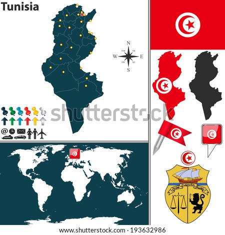 Vector map of Tunisia with regions, coat of arms and location on world map
