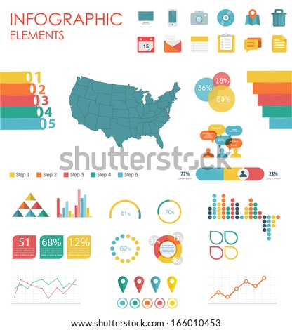 Vector map of United States of America, illustration and infographics design template. flat modern style. Easy to edit country.