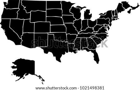 Usa Map Black.States Outlines Silhouette Vector Download Free Vector Art Stock