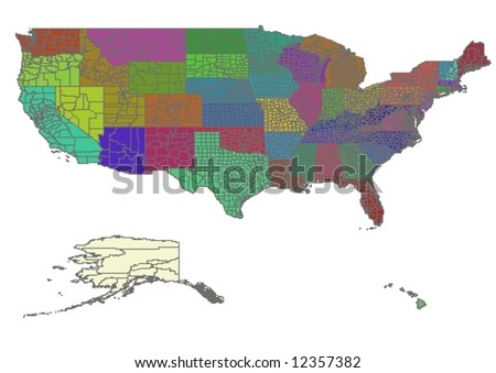 Vector map of United States with all counties