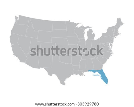 Florida Map On Blue Background - Download Free Vector Art, Stock ...