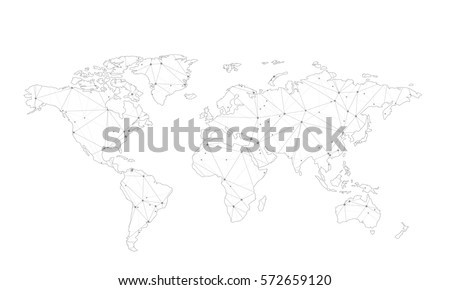 Vector map of world with trendy triangles design