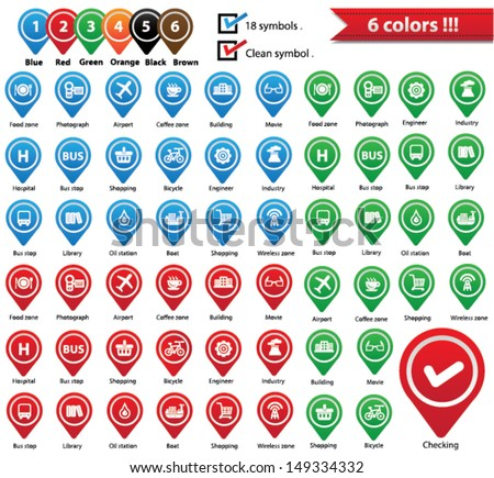 Vector Map Pins Pointer,Symbols for use map,vector