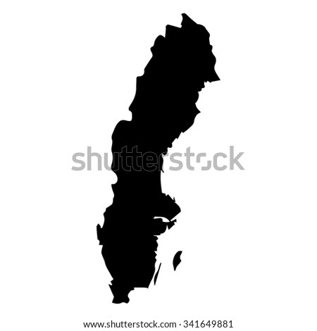 Vector map Sweden. Isolated vector Illustration. Black on White background. EPS Illustration.