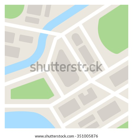 Vector map template illustration. Simple flat city map