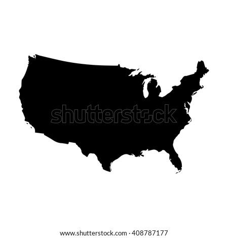 Vector map United States. Isolated vector Illustration. Black on White background. EPS 8 Illustration.