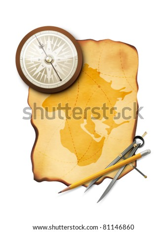 vector map with compass, pencil and a divider - stock vector