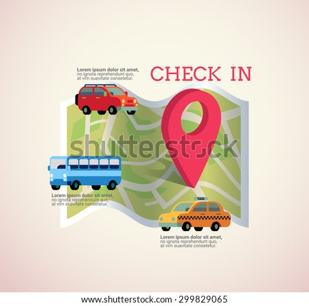 vector map with pin icon show location and destination of transportation , type of transportation such as car,bus,taxi and check in text.