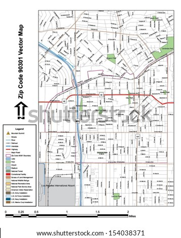 Vector map with summits, rivers, railroads, streets, lakes, parks, airports, stadiums, correctional facilities, military installations and federal lands by zip code 90301 with labels and clean layers.