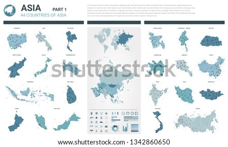 Vector maps set.  High detailed 44 maps of Asian countries with administrative division and cities. Political map, map of Asia continent, world map, globe, infographic elements.  Part 1.