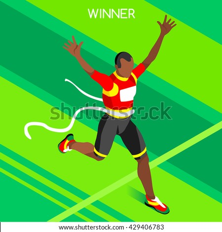 Vector Marathon Finish Line African Athlete American Run Man Athletic Sportsman Win Concept. 3D Isometric Win Athlete Sport Collection Athletic Sport Competition Infographic olympic Vector People Set