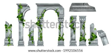 vector marble roman pillar ruin