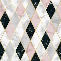 Vector marble seamless pattern with golden geometric diagonal lines. White, pink, black rhombus marbling surface, modern luxurious background, luxury wallpaper.