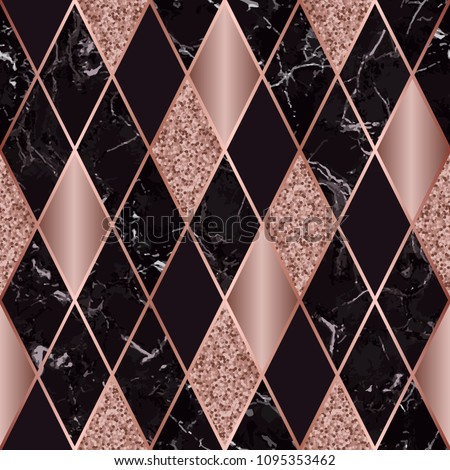 Vector marble seamless pattern with pink golden geometric diagonal lines. Pink gold, golden glitter and black rhombus marbling surface, modern luxurious background, luxury wallpaper.
