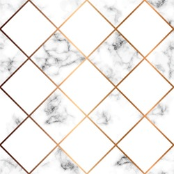 Vector marble texture, seamless pattern design with white squares and golden geometric lines, black and white marbling surface, modern luxurious background