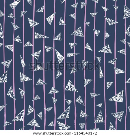 Vector marble triangles seamless repeat pattern background with hand drawn vertical lines in the background. Perfect for fabric, apparel and accessories, home decor, stationery, packaging, gift wrap.