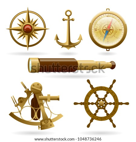 Vector marine navigation icon set isolated on white background. Windrose, anchor, compass and other objects